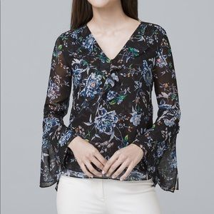 White House Black Market floral blouse size 0